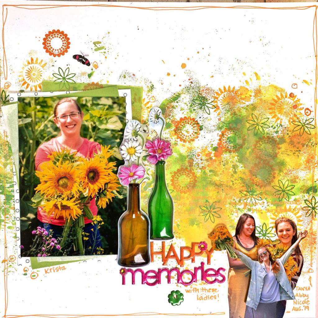 12 X 12 Scrapbook layout of a girl holding a a bouquet of sunflowers. The layout features a variety of products by MultiCraft Forever in Time.