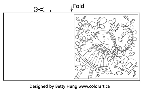 Free September Coloring card of a girl with long hair and leaves falling around her illustrated by Betty Hung