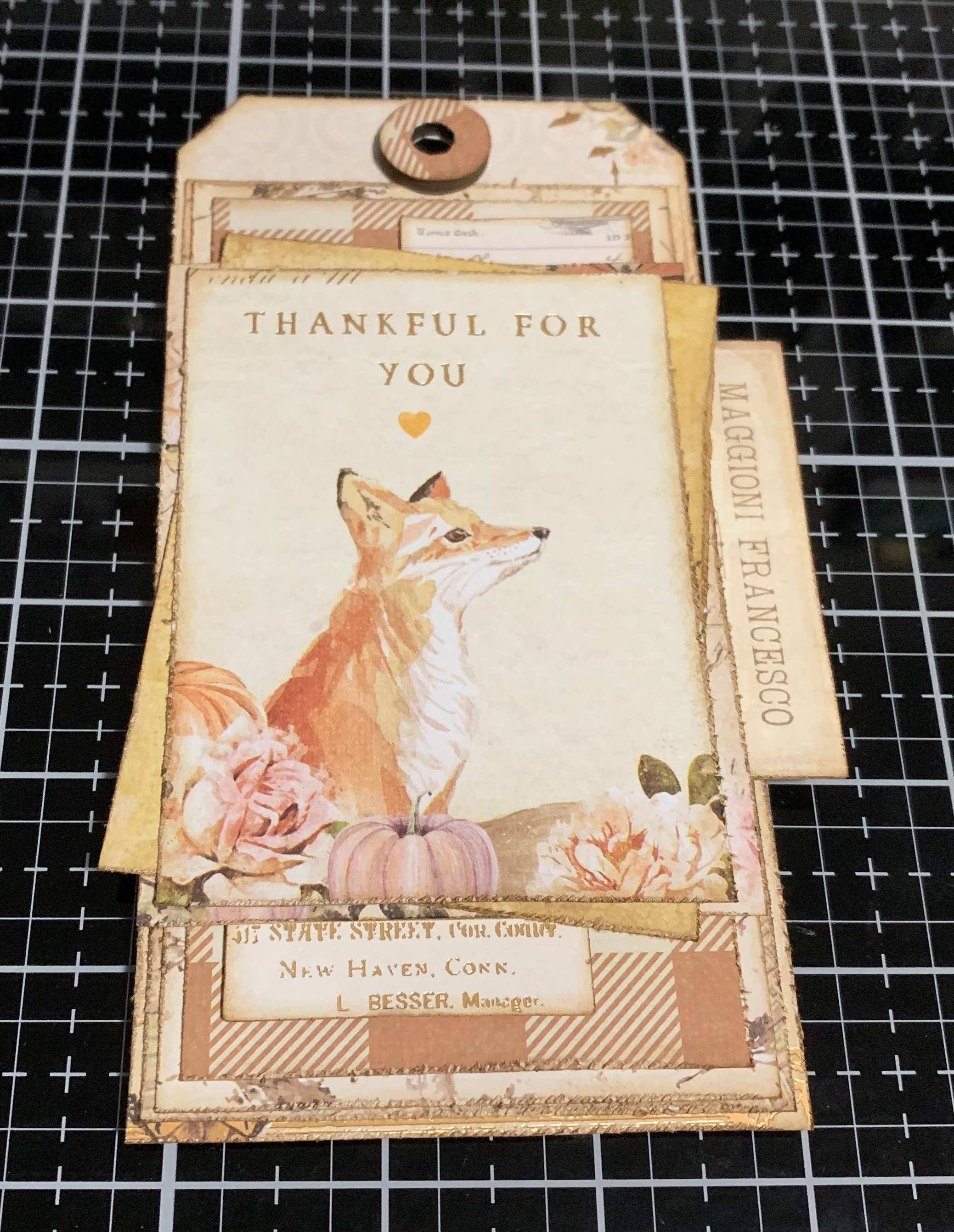 Step 11 - scrapbooking a vintage Thankful Tag using Prima Marketing Autumn Sunset patterned paper