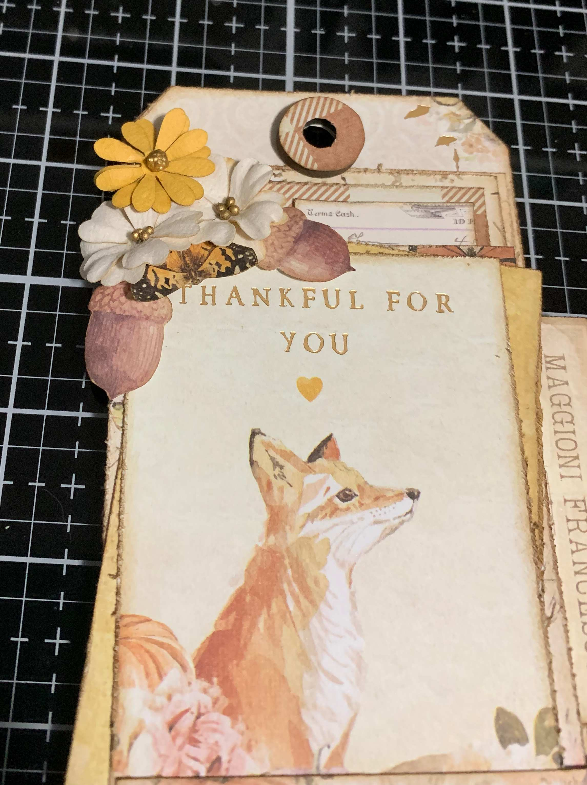 Step 13 - scrapbooking a vintage Thankful Tag using Prima Marketing Autumn Sunset patterned paper