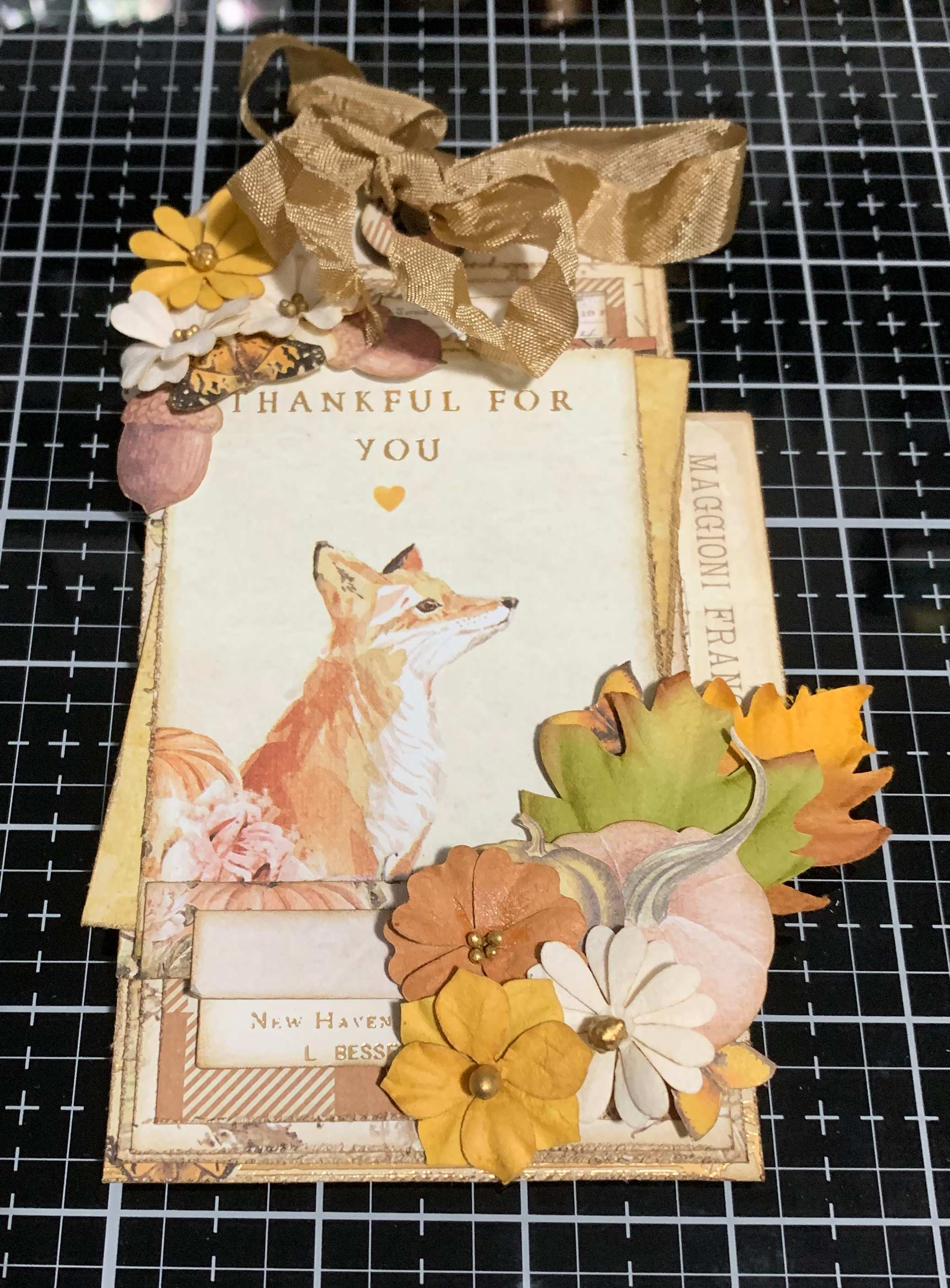 Step 15 - scrapbooking a vintage Thankful Tag using Prima Marketing Autumn Sunset patterned paper