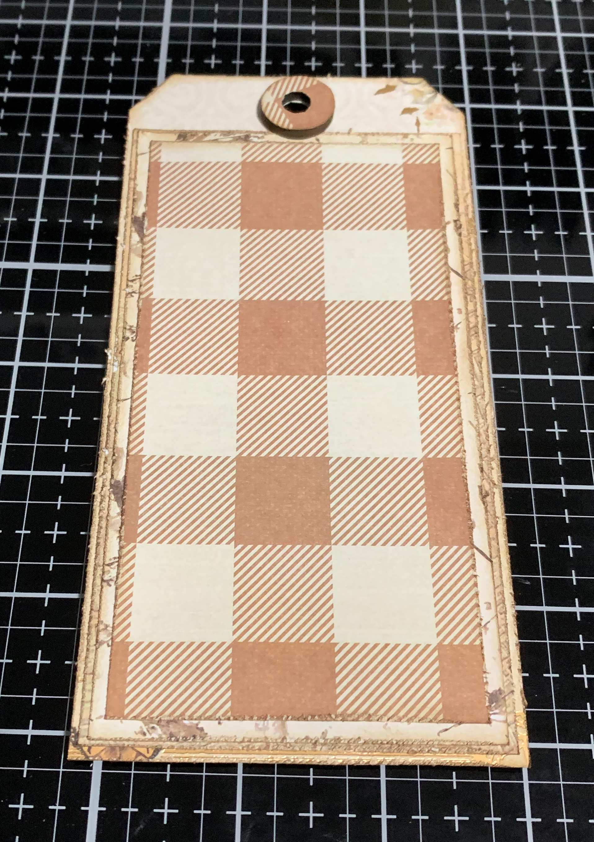 Step 10 - scrapbooking a vintage Thankful Tag using Prima Marketing Autumn Sunset patterned paper