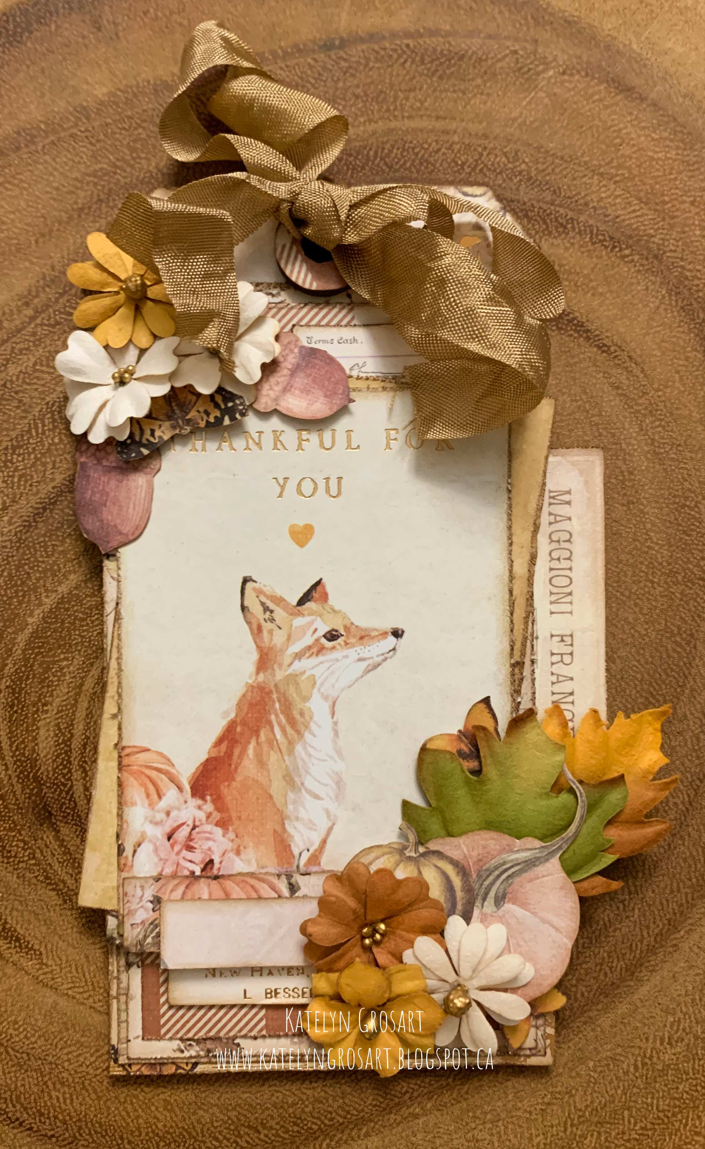 Vintage Thankful Tag for autumn scrapbooked with paper from Prima Marketing Autumn Sunset Collection with a happy fox on the front. Designed by Katelyn Grosart