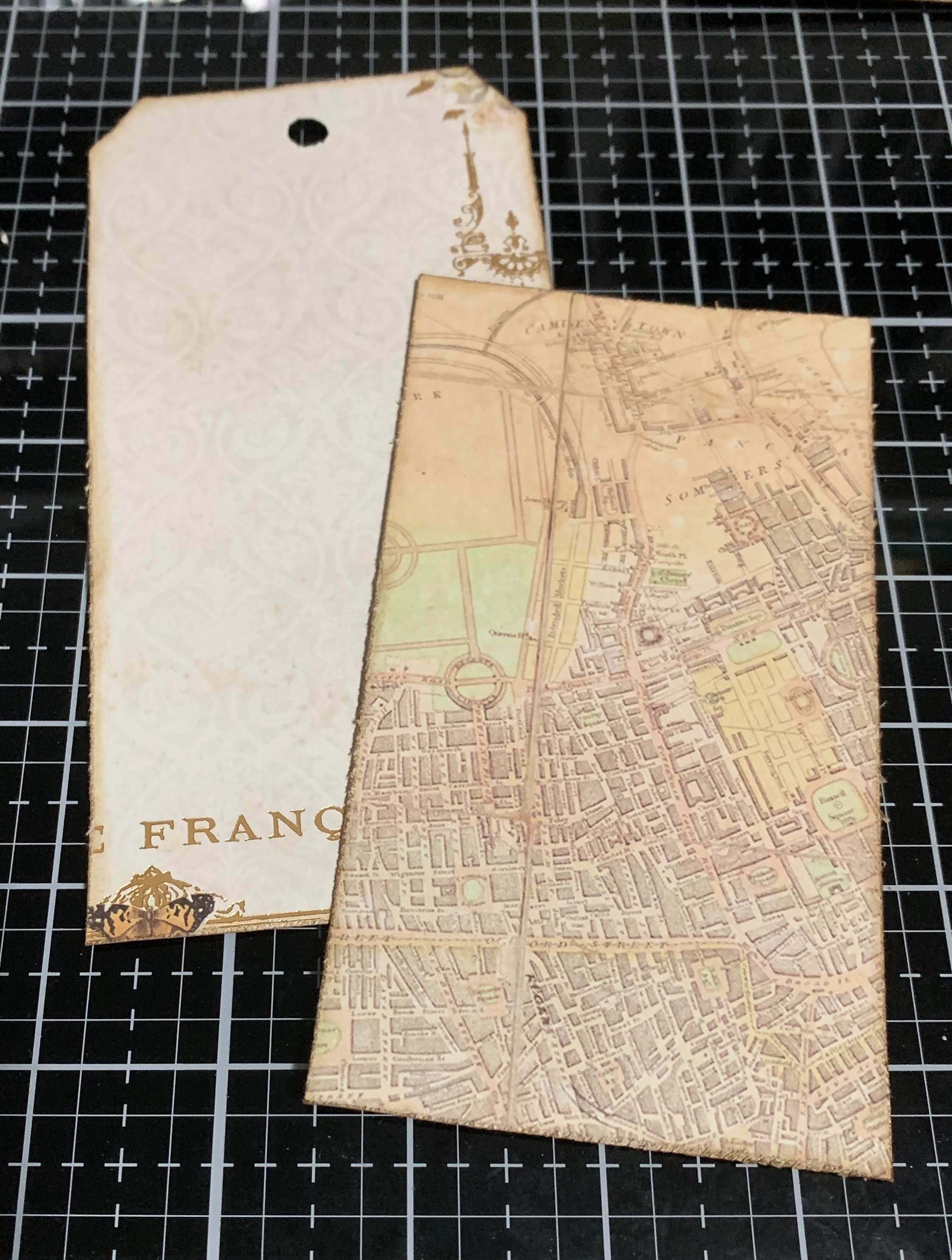 Step 3 - scrapbooking a vintage Thankful Tag using Prima Marketing Autumn Sunset patterned paper