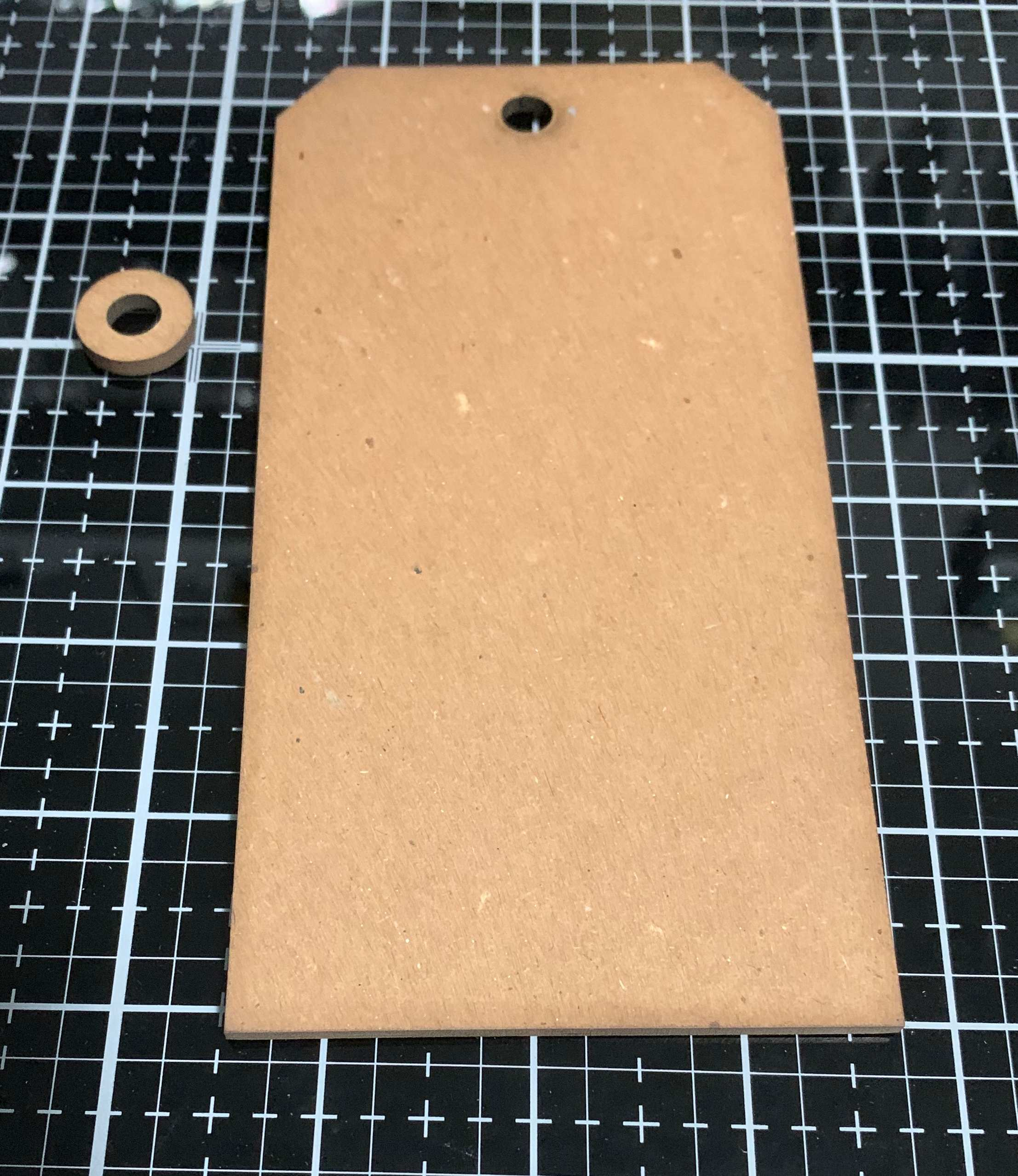 Step 1 of scrapbooking a vintage thankful tag featuring a Stampers Anonymous Chipboard tag.