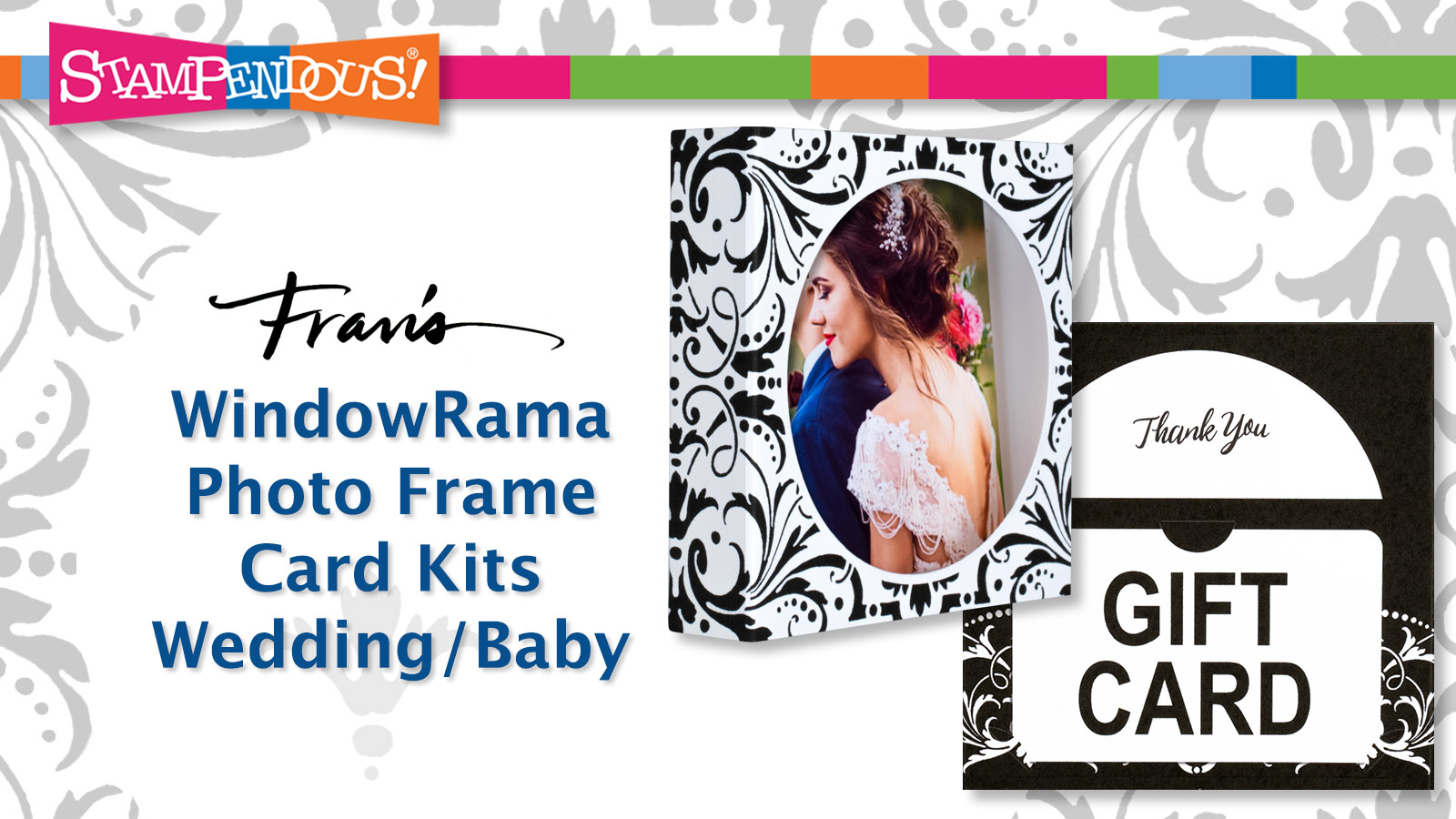 WindowRama Photo Frame Cards Kits advertisement by Stampendous for card making and scrapbooking