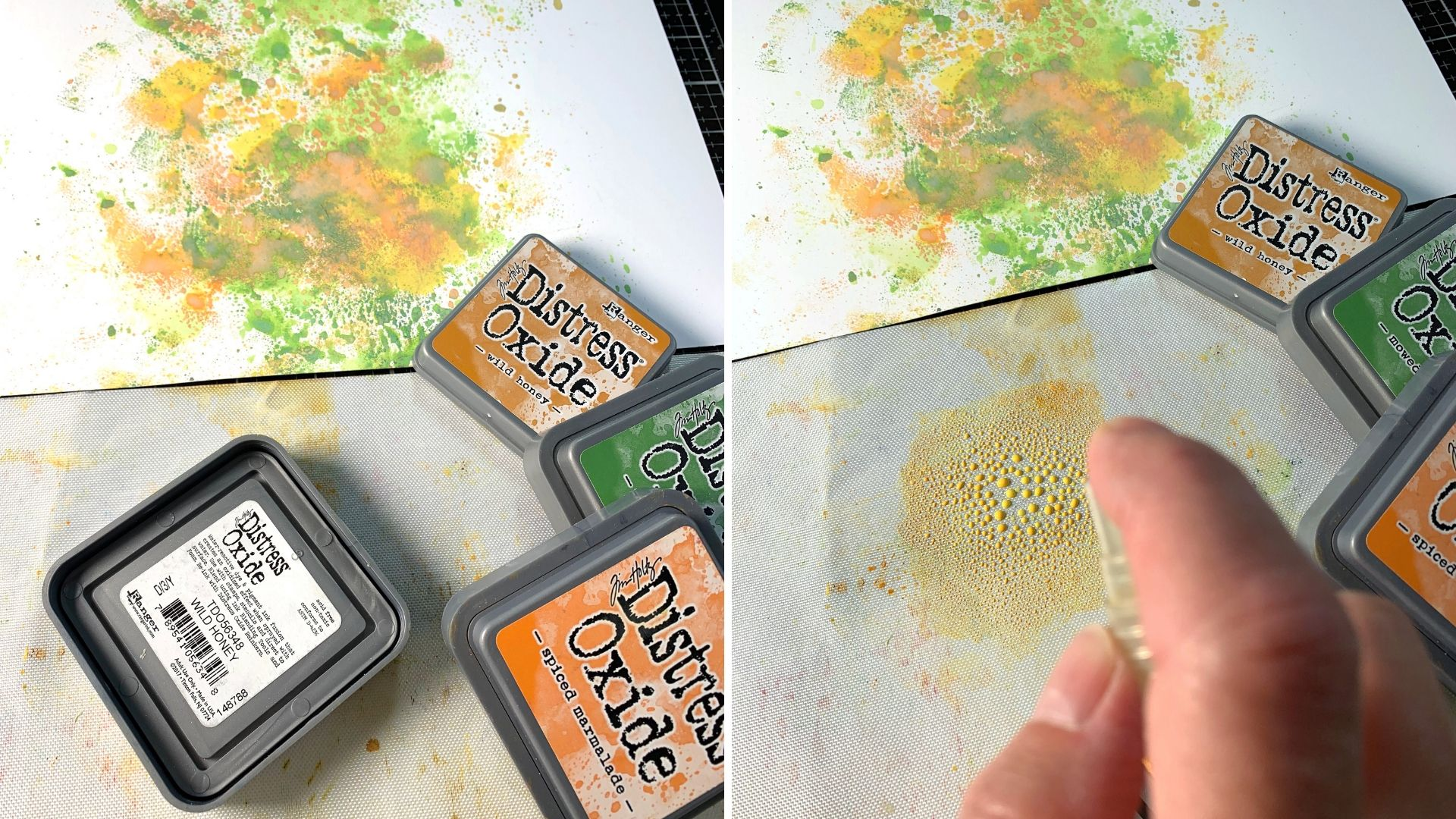 Scrapbooking a background using a water spritz technique featuring Ranger Tim Holtz Distress Oxide inks in greens, yellows and orange colors.