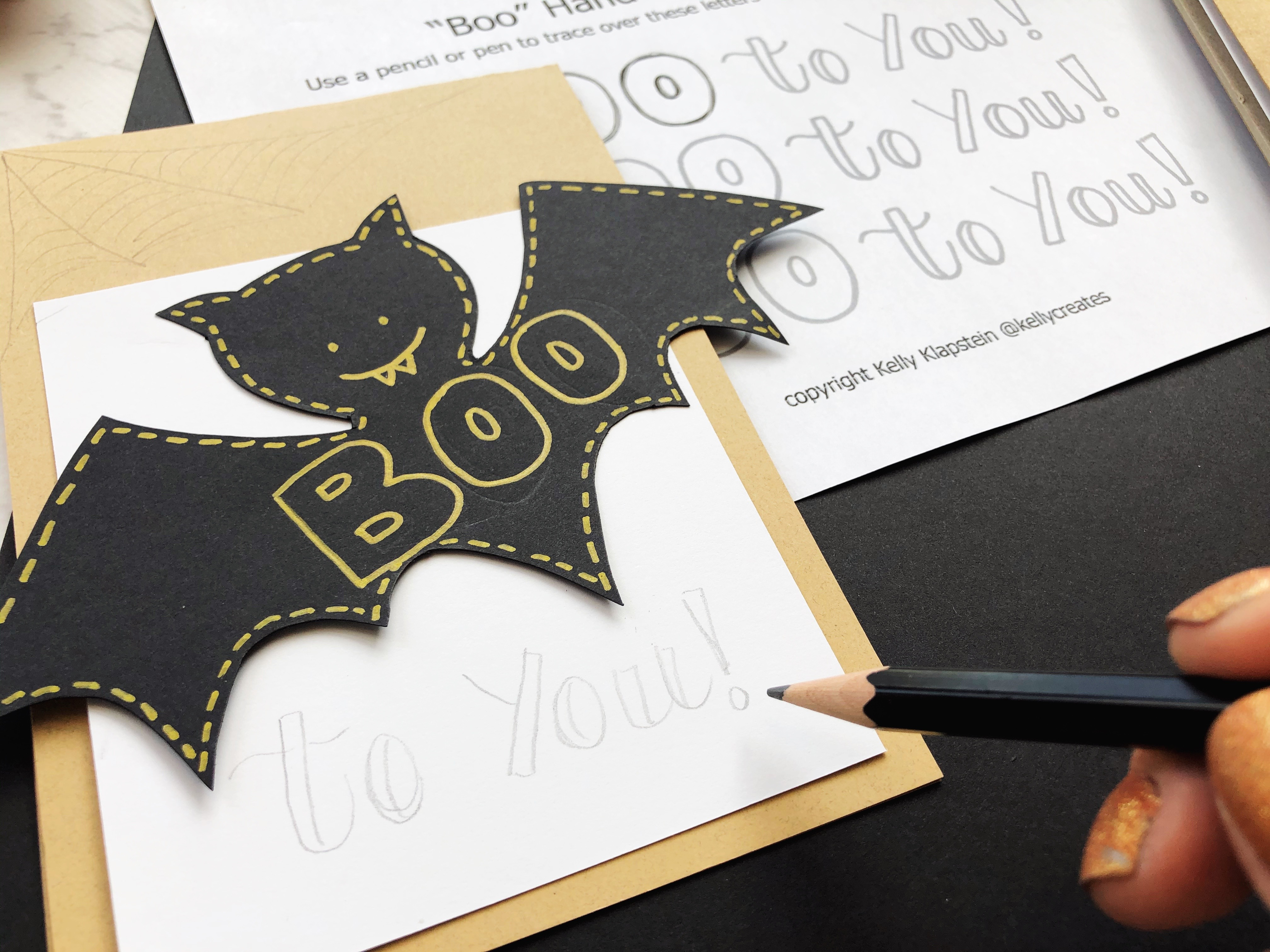Boo Halloween Card hand lettering with the Kelly Creates Black Fineliner