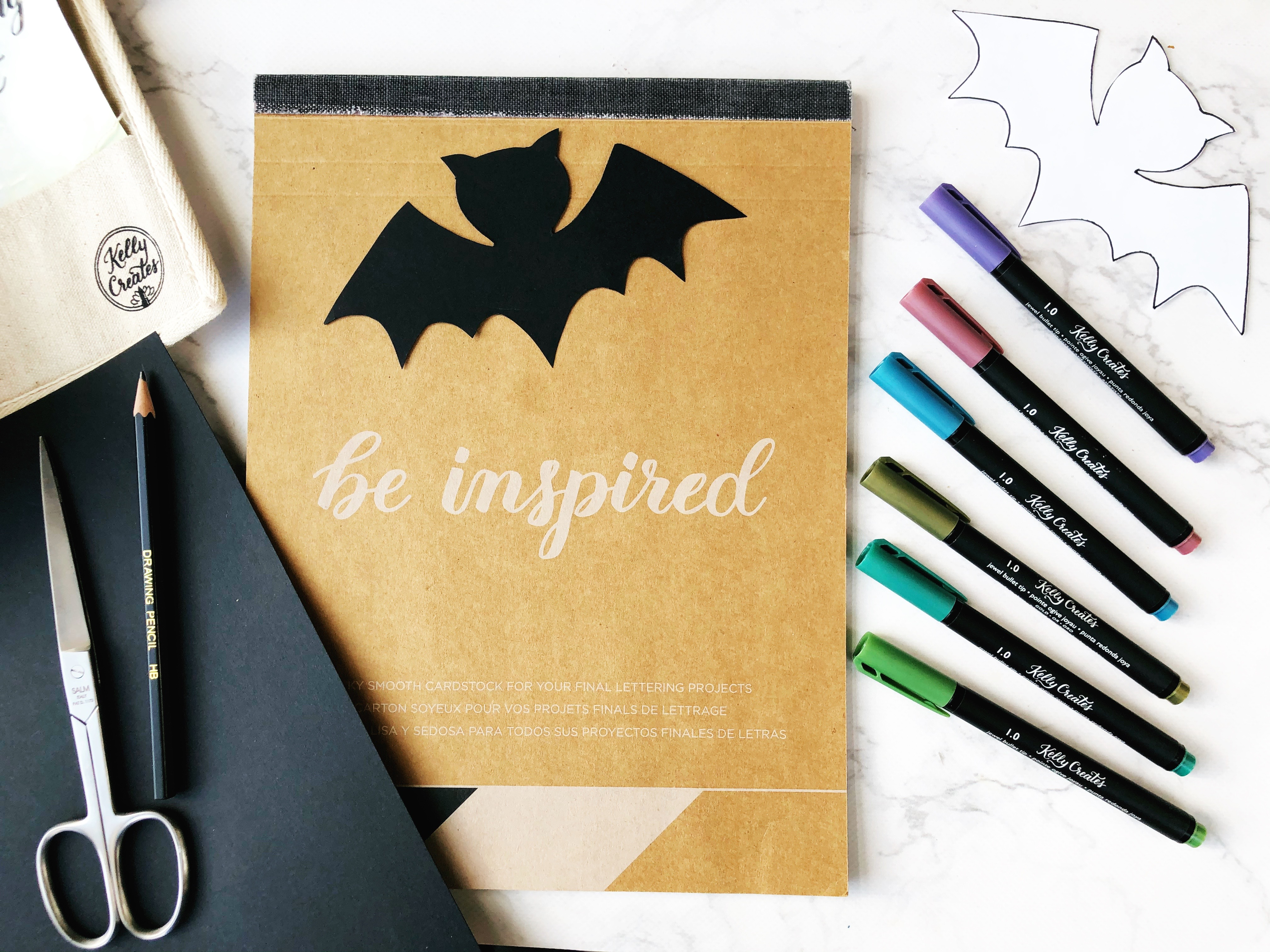 Kelly Creates Halloween project supplies. Deluxe Lettering Kit and Project Pad