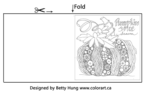 Free Coloring card for October with a gorgeous pumpkin designed by Betty Hung.
