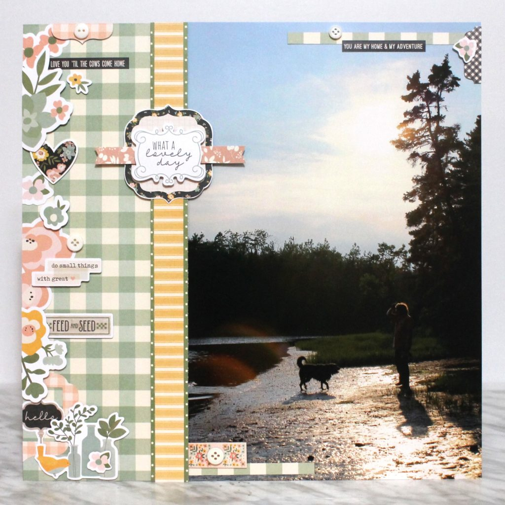12X12 Scrapbook Layout featuring Simple Stories Spring Farmhouse paper and sticker collection.