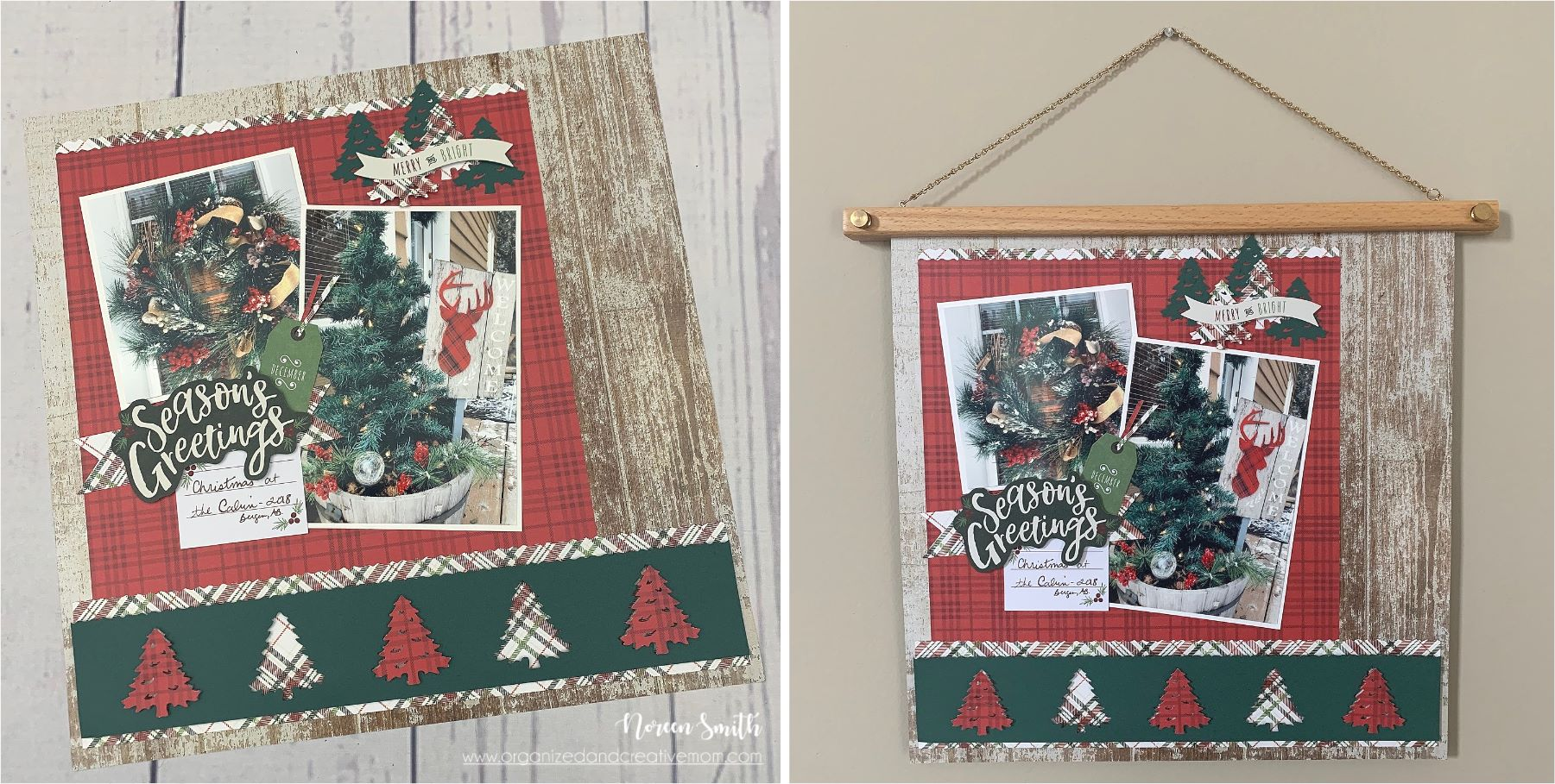 Wooden Frame Hanger featuring a 12X12 Christmas layout by Creative Memories