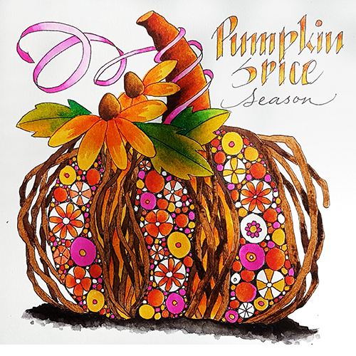 Colouring sheet for October Pumpkin Spice Season by Betty Hung