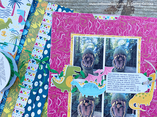 Dinosaur World scrapbook page by Cathy Caines