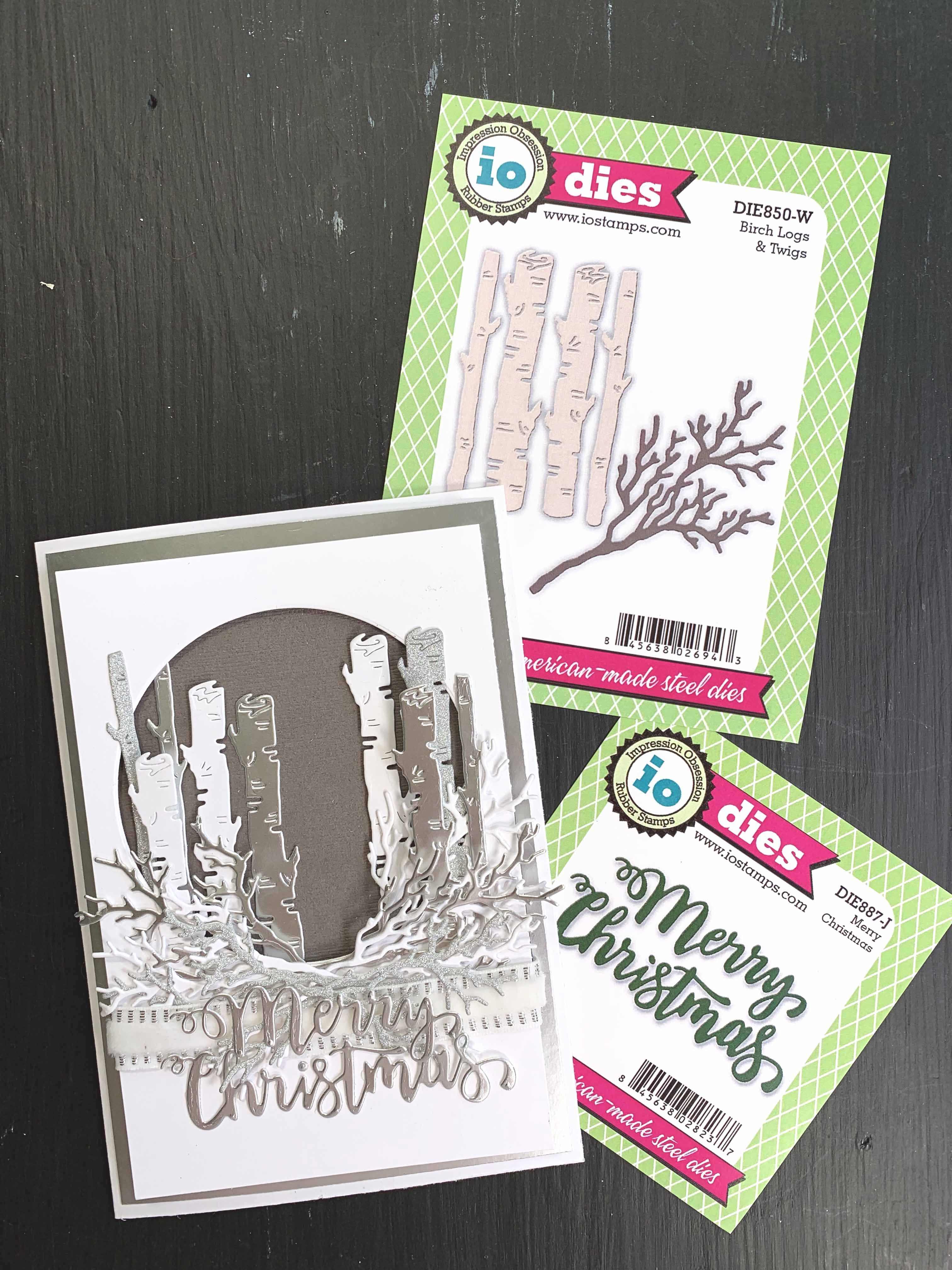 Christmas Card featuring the Birch Logs & Twigs dies set by Impression Obsession. Card Designed by Kerry Engel for Creative Scrapbooker Magazine.