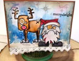 Christmas card designed by Kerry Engel featuring the Merry Misfits stamp set by Stampers Anonymous