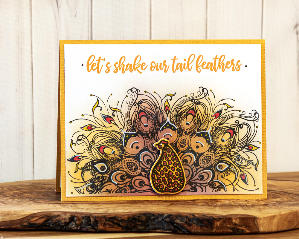 Scrapbook Card featuring Let's Shake Our Tail Feathers Stamps Set by Picket Fence Studios