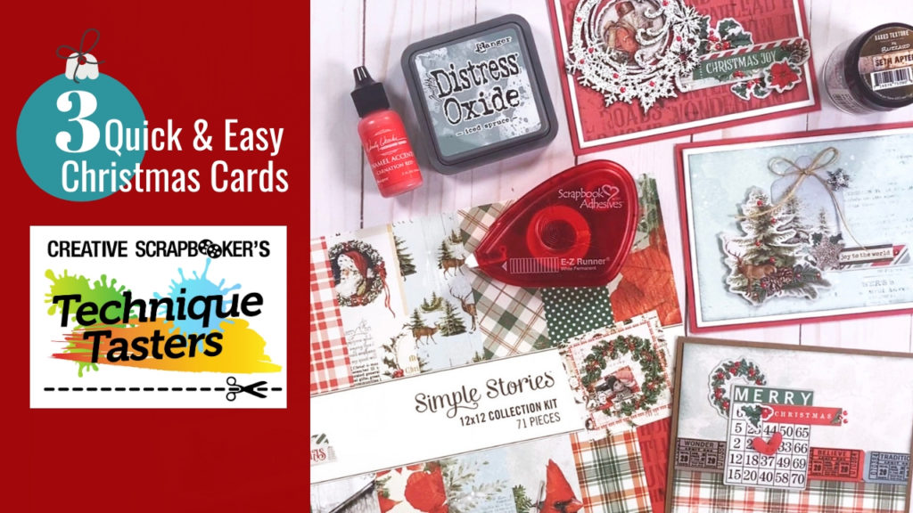 3 Quick & Easy Christmas Cards – Technique Tasters #211