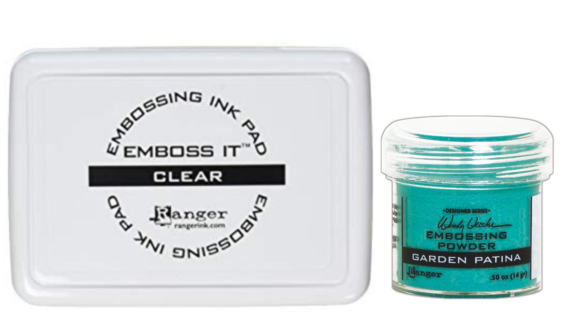 Ranger Embossing ink and Wendy Vecchi embossing powder in blue