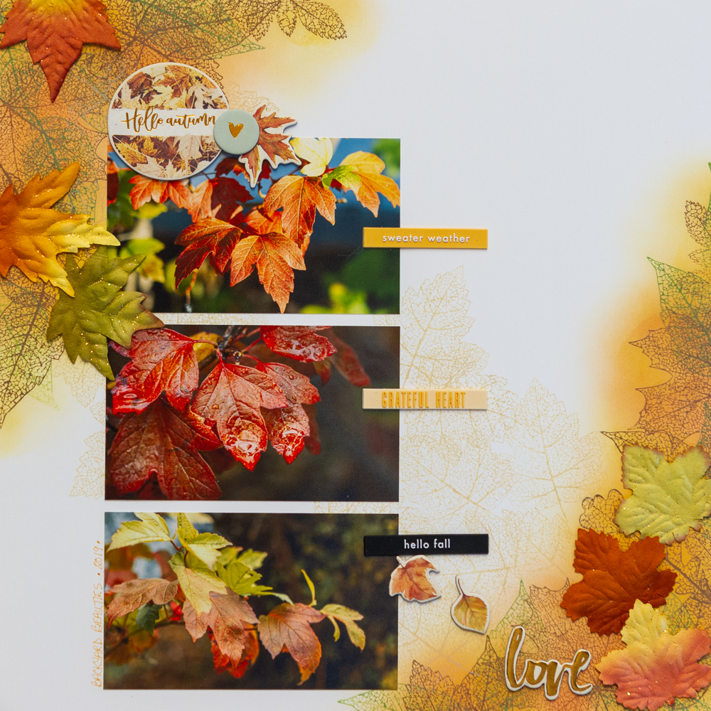 Autumn Scrapbook Layout using Stamper's Anonymous Pressed Foliage set