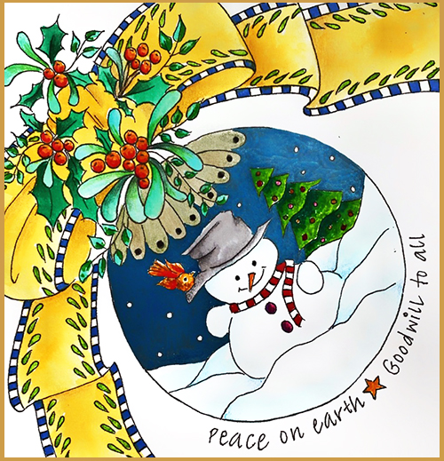 Free December Coloring card designed by Betty Hung