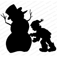 Impression Obsession Silhouette Snowman Stamp