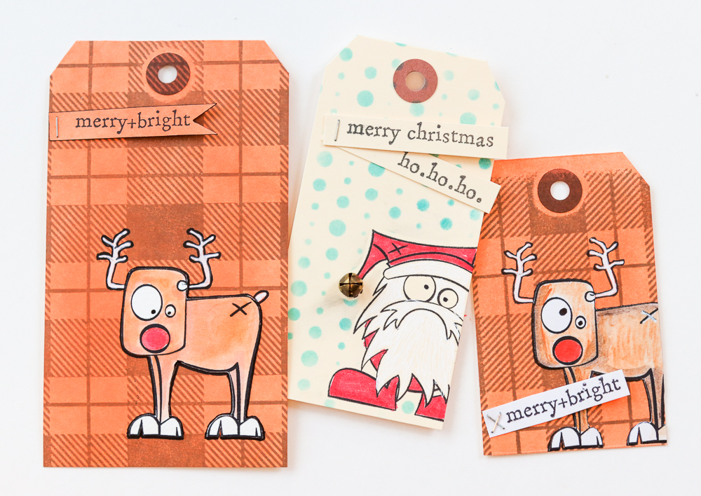 Christmas tags using Stamper's Anonymous Misfits stamp set