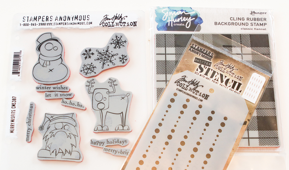 Stamper's Anonymous stamps & Stencil / Ranger's Simon Hurley Classic Flannel