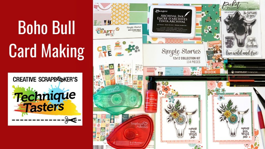 Boho Bull – Card Making – Technique Tasters #215