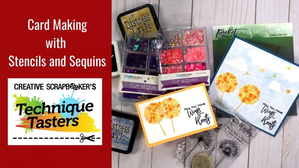 Card Making with Stencils and Sequins – Technique Tasters #218
