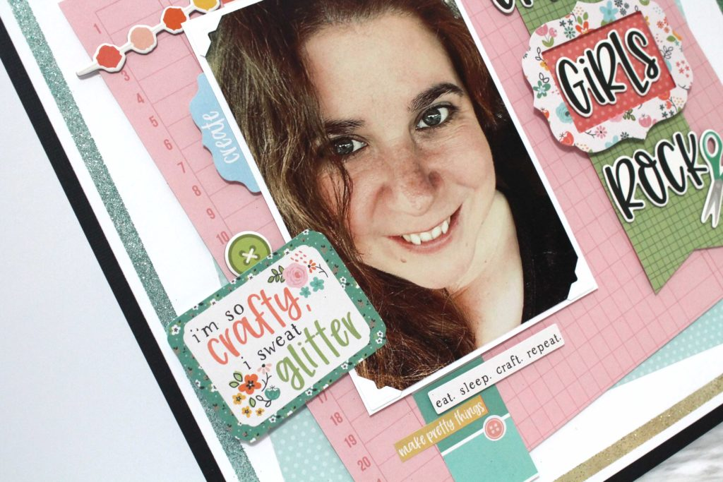Details of a Scrapbook 12X12 Layout featuring Hey Crafty Girl Collection by Simple Stories - Designed by Tracy McLennon