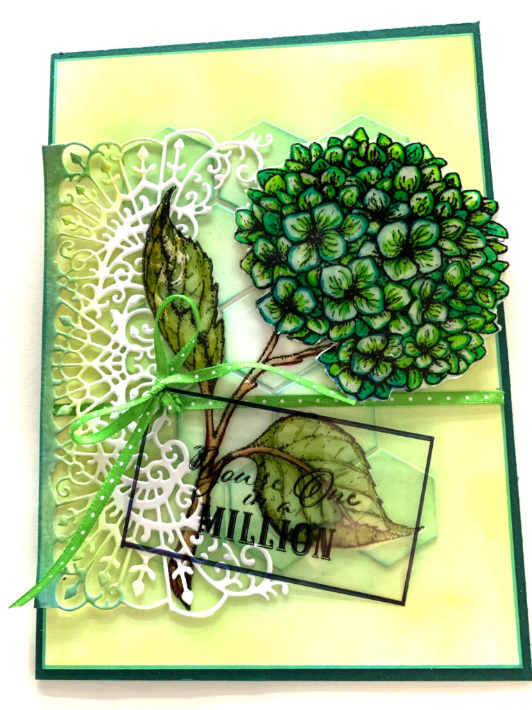 Hydrangea Stamp by Heartfelt Creations is featured on this card designed by Cathie Allan