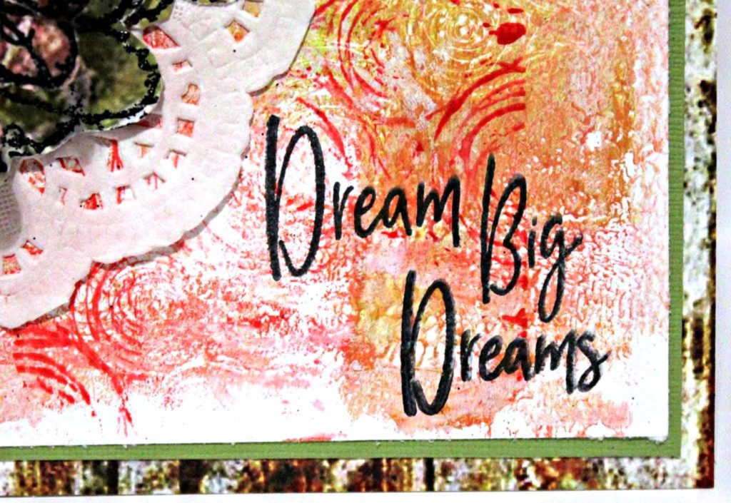 Mixed Media card designed by Pam Bray featuring Emerald Creek Craft Supplies and Wild Whisper
