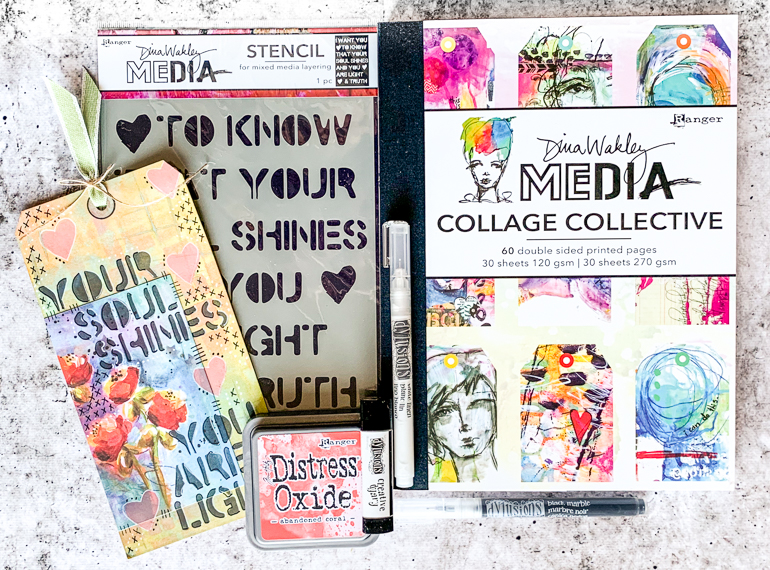 Dina Wakley stencil / Collage Collective / mixed media tags