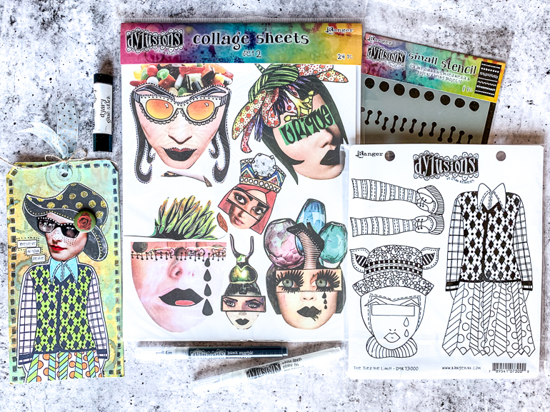 Dylusions Collage Sheets / Stencil / Stamps / mixed media tags