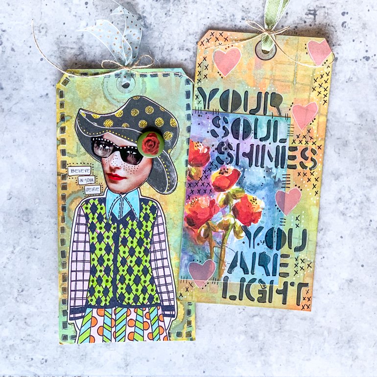 Mixed Media Tags designed by Kim Gowdy using Ranger products