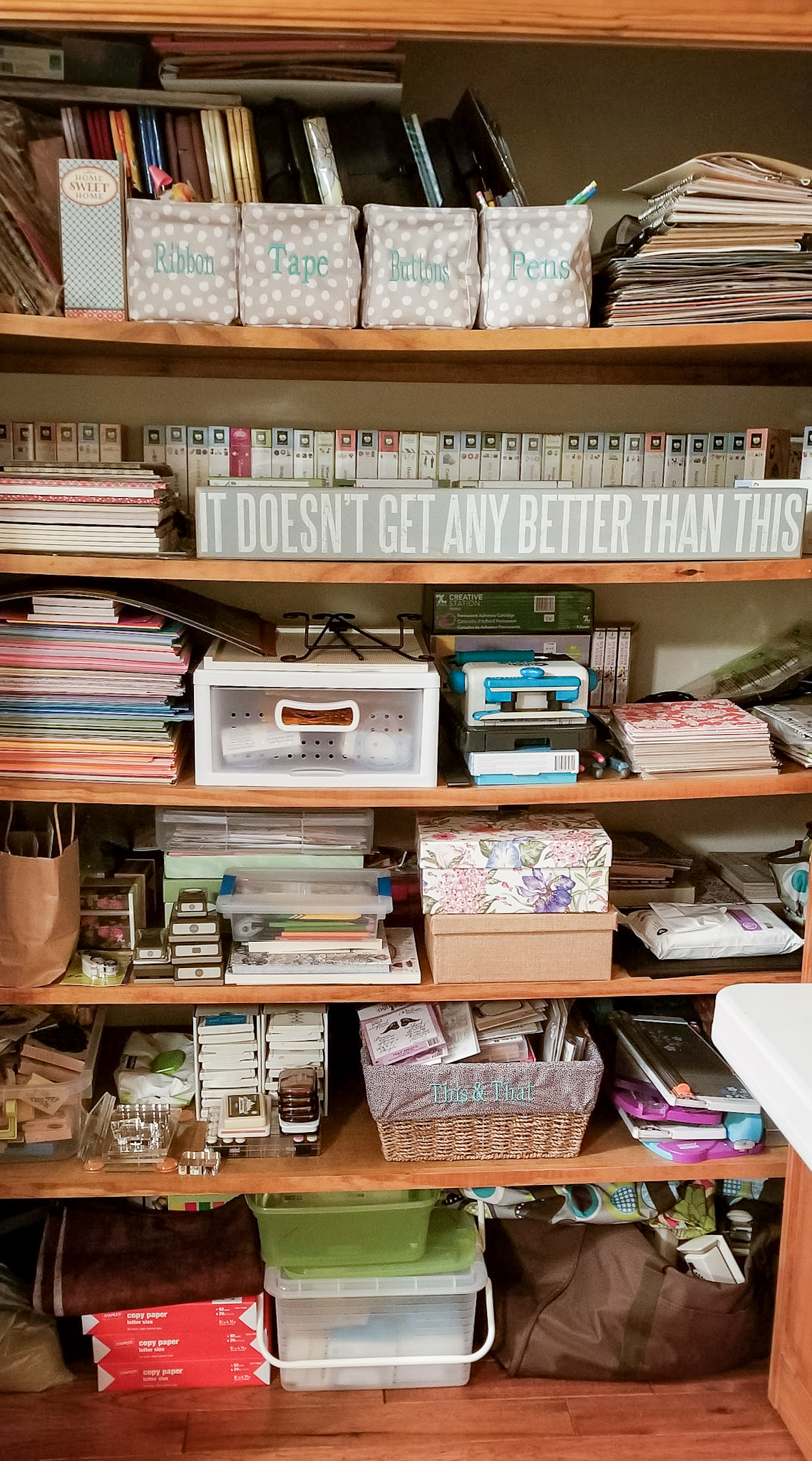 Where You Create / Kim Henshaw / scrapbooking storage