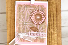 Card designed by Kerry Engel featuring Therm O Web and MultiCraft Forever in Time Burlap
