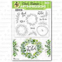 Art Impressions Bonnie Kreb Greenery Invites Stamp Set