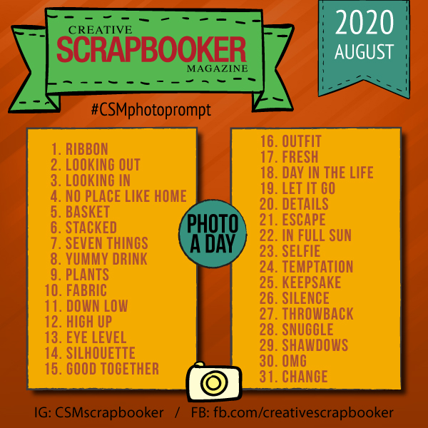 Creative Scrapbooker Magazine Daily Photo Prompt August 2020