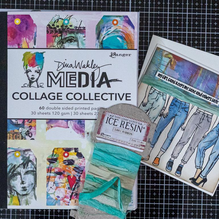 Dina Wakley Collage Collective / Ice Resin Sari Ribbon