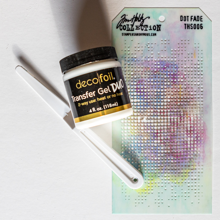 Transfer Gel Duo with Stampers Anonymous stencil / Tim Holtz Faded Dots