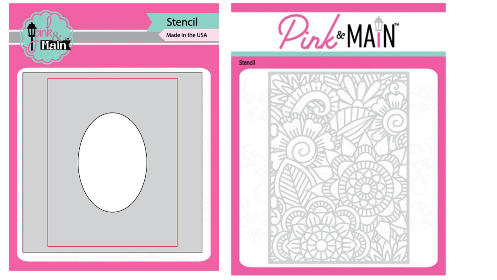 Pink and Main - Oval Mask and Floral Stencil