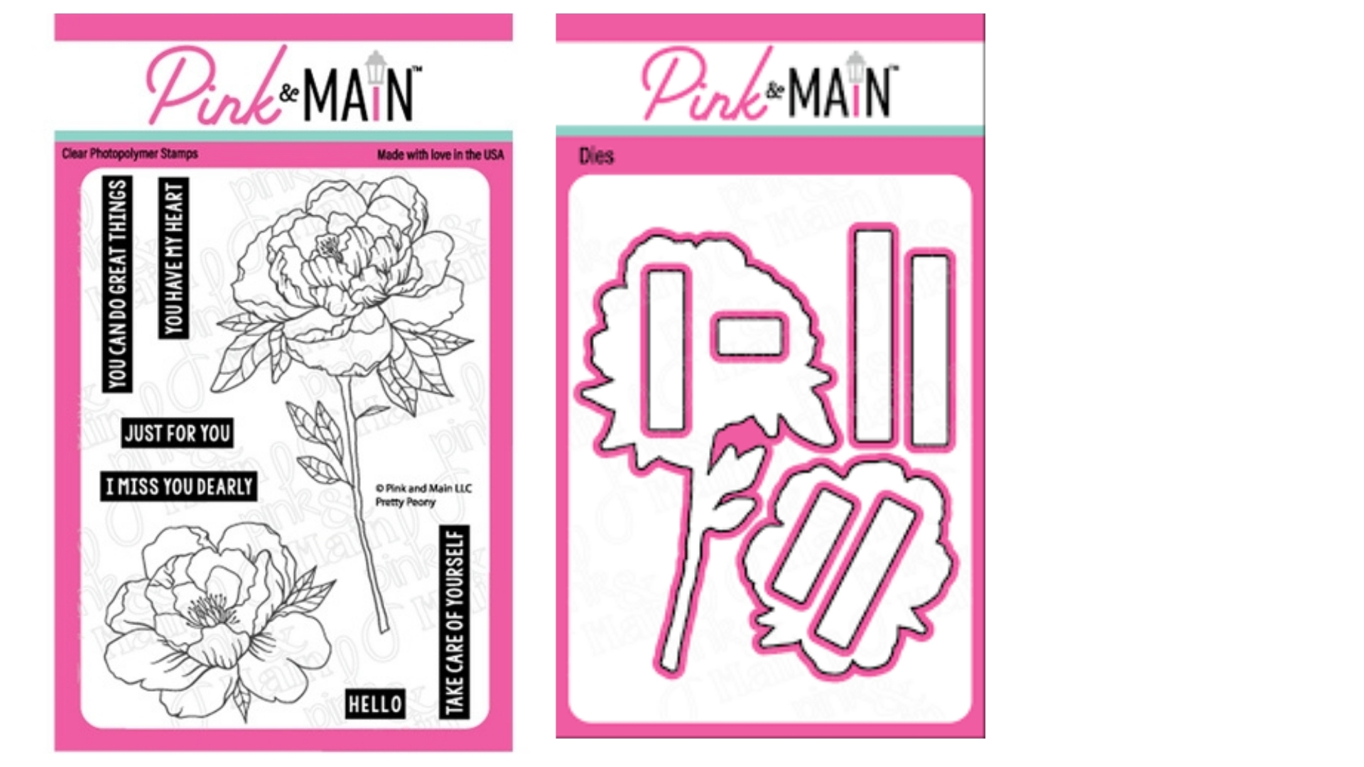 Pink and Main - Pretty Peony Stamp and Die Sets