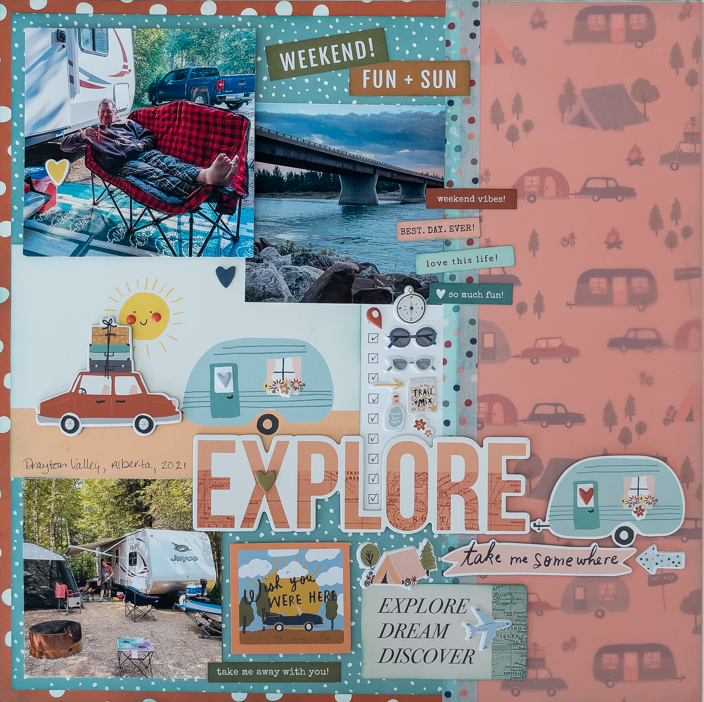 Simple Stories Safe Travels collection / layout by Kim Gowdy